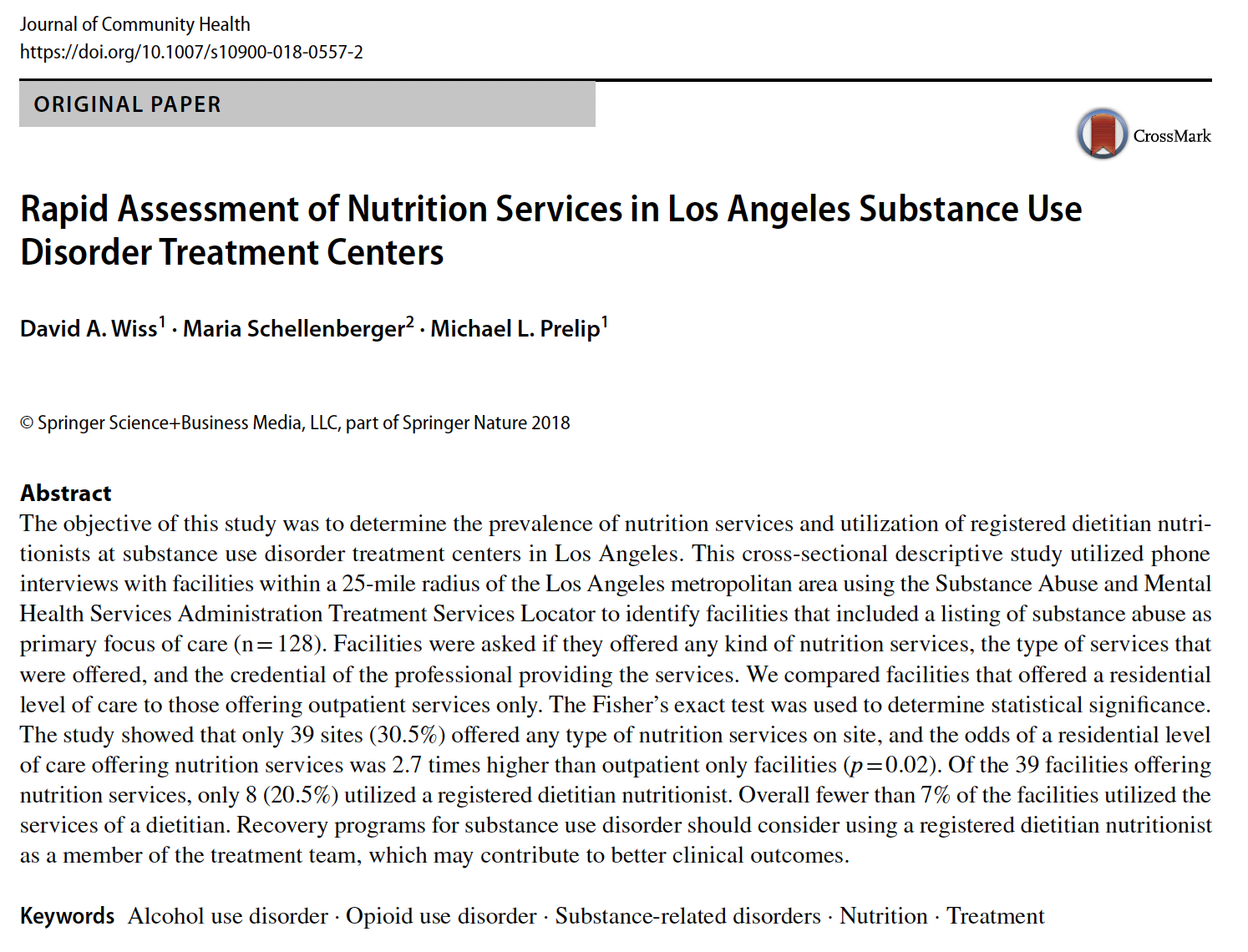 Journal Publication: Nutrition Services in Los Angeles Substance Use Disorder Treatment